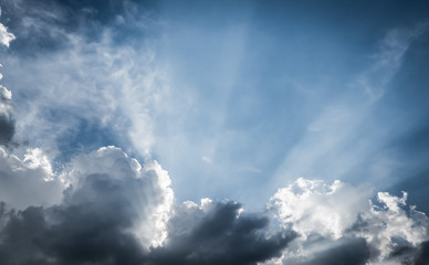 vintage filter:Nice blue sky with sun beam with cloudy,Hope ray