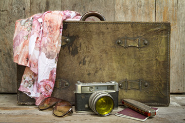 Traveling concept of retro on wood background