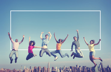 Cheerful People Jumping Friendship Happiness City Concept Wall mural