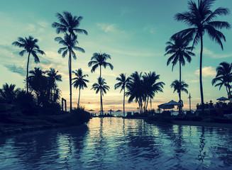 Soft twilight of the amazing tropical marine beach.
