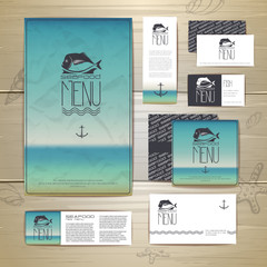 Fried fish restaurant menu concept design. Corporate identity. D