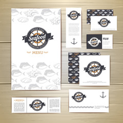 Fried fish restaurant menu concept design. Corporate identity. D