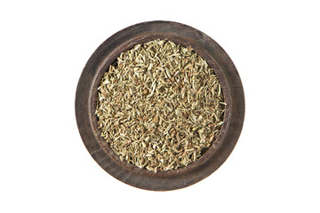 Thyme dried  in wood bowl on isolated white., Top view