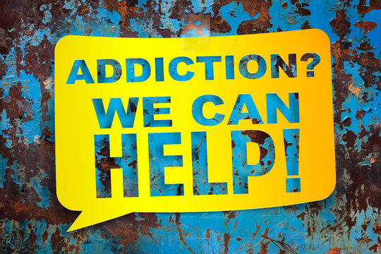 """Addiction we can help,"" yellow banner on a textural background."