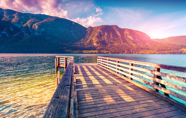 Wall Mural - Colorful summer morning on the Bohinj lake