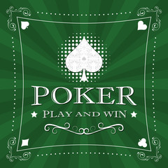 Retro poker vector illustration with card symbol in the middle