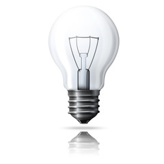 Vector realistic light bulb isolated on white background with