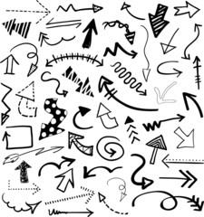 Hand drawn doodle black arrows