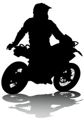 Fototapete - Motorcyclist performed extreme stunts on a white background
