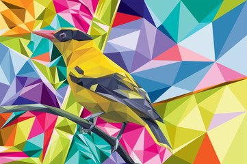 cute bird lowpoli colorful