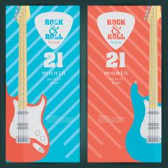 Electric guitar banner background. vector illustration