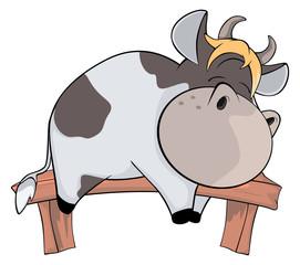 Sleeping cow. Cartoon