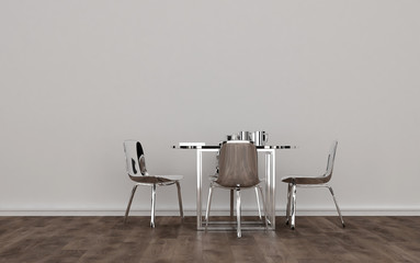 Contemporary Metal Dining Room Set in Empty Room