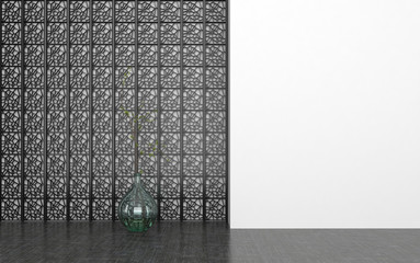 Glass Vase in Room with Decorative Metal Screen