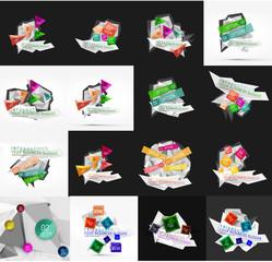 Set of light, paper design option infographic banner templates