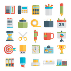 Set of office icons in flat design