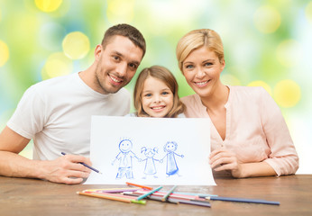 happy family with drawing pencils and picture