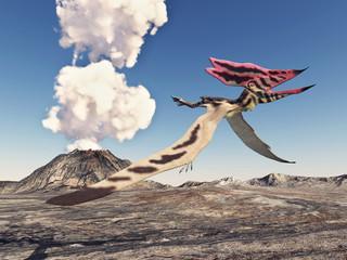 Pterosaur Thalassodromeus and volcano