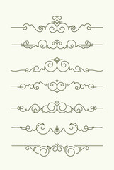 Set of 7 decorative text dividers. Vector illustration in mono l