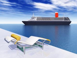Liegestuhl und Kreuzfahrtschiff