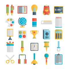 Flat style, education and e-learning vector illustrations