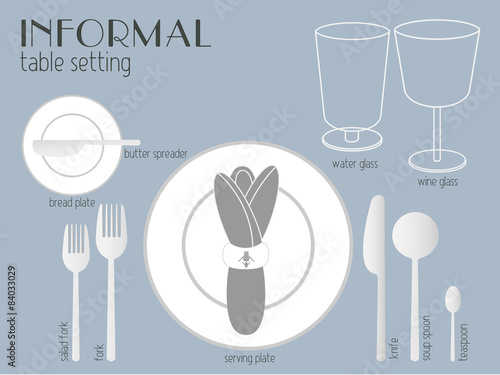 INFORMAL TABLE SETTING tableware are set for casual dining.\