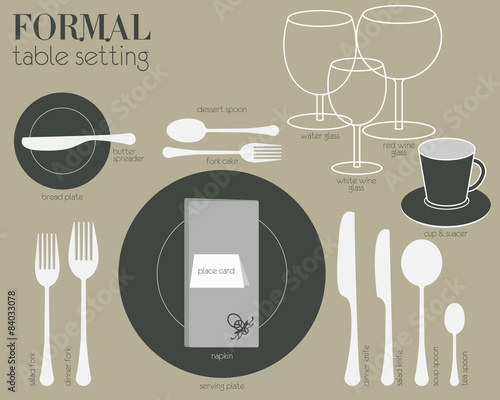 FORMAL TABLE SETTING Formal dining table set in modern style. & FORMAL TABLE SETTING Formal dining table set in modern style.