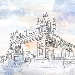 Illustration of Tower Bridge in London, England