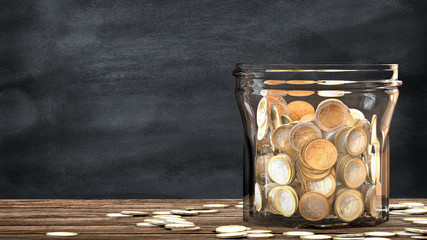 Mason jar full of coins. Financial saving metaphor.