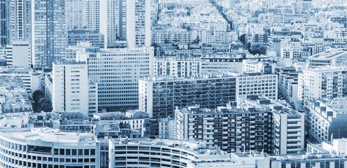Big modern city background, blue toned