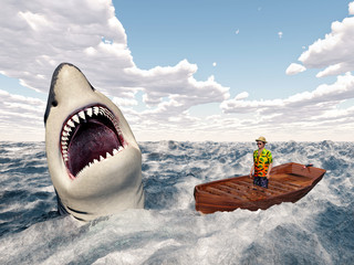 Man in a boat and great white shark