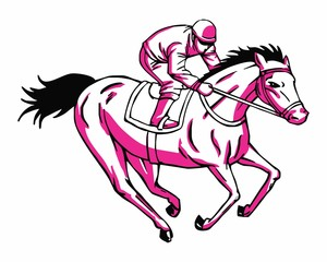 pink horserace image vector