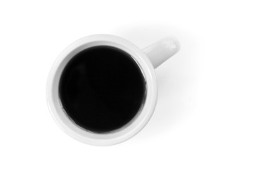 White cup full of black coffee stands on table
