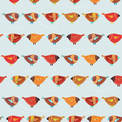 Seamless pattern with birds in cartoon style
