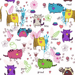 Cats seamless pattern in doodle style. Cat and kitten