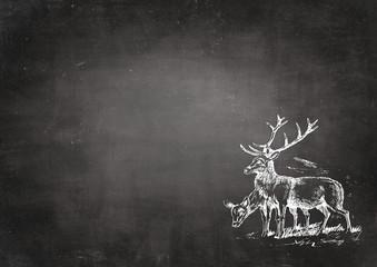 Vintage deer - backround