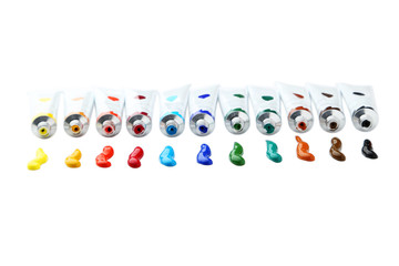Colorful acrylic paints in tubes isolated on white