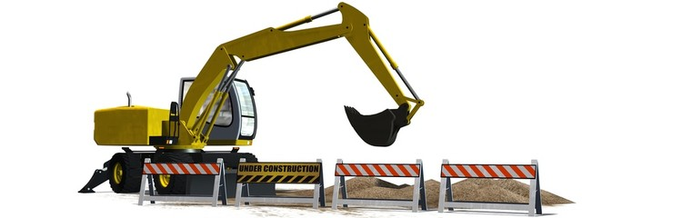 Excavator behind roadblock isolated on white background