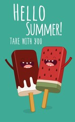 Ice lollies take with you. Ice cream. Hello summer.