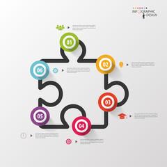 Infographics jigsaw. Vector design template