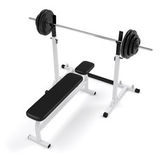 Gym weight bench press and barbell