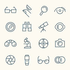 Optical line icon set