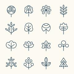 Trees line icon set