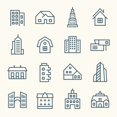 Buildings line icon set
