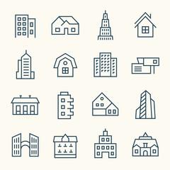 Buildings line icon set