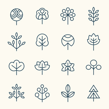 Trees line icon set
