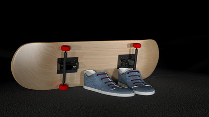 Photo realistic skateboard and snickers created in 3D
