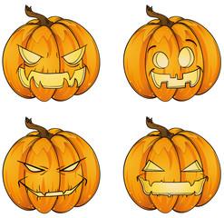 Happy Halloween Kürbisse Set Kollektion Sammlung