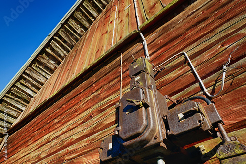 old antique fuse box on an old barns wooden wall sweden stock rh fotolia com