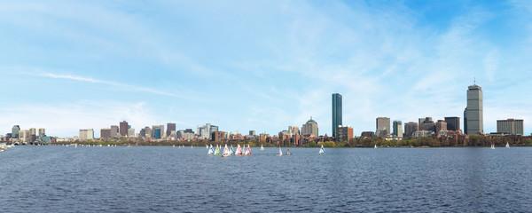 Boston skyline on the river, panoramic image.